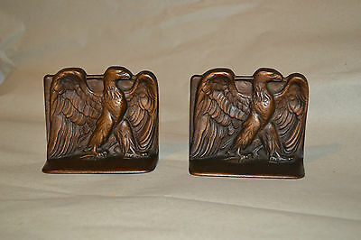 Antique Vtg  Cast Iron Bronze USA Bald Eagle  Bookends signed