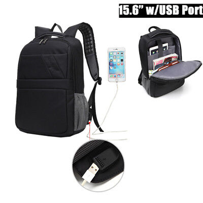 UK Waterproof Laptop Notebook Backpack Business School Bag With USB Charger Port
