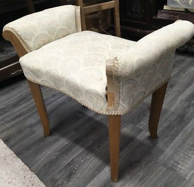 Antique Upholstered Stool/ Bench/ Chair With Scrolled Arms