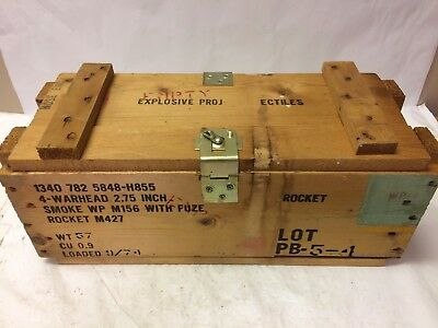 Vintage Wooden Ammunition Ammo Fuse Rocket Warhead Crate Wood Box 9/74