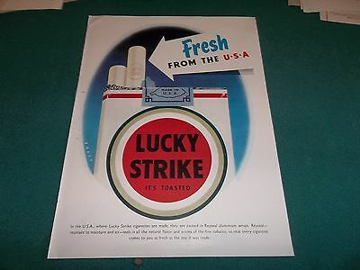 pubblicità 1956 SIGARETTE LUCKY STRIKE FROM THE U.S.A.IT'S TOASTED,GRANDE FORMAT