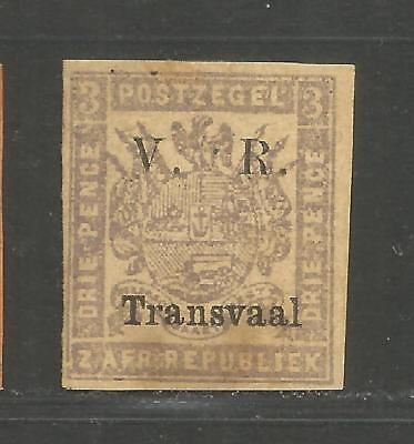Transvaal 1877 Overprinted V.  R. black 3 P mauve on buff paper - see scans