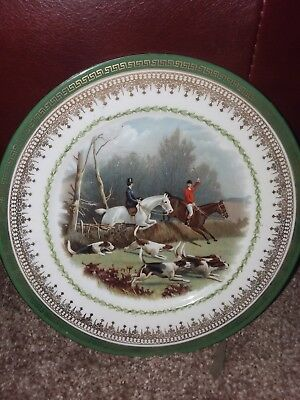 Imperial Crown China Austria Hunting Scene Green and Gold Rim