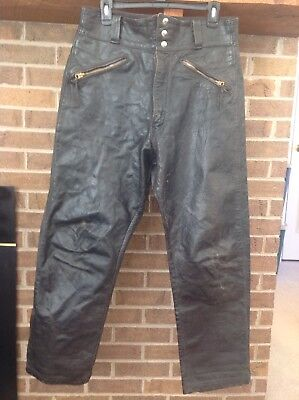 VTG 3 Button BUCO Steerhide Pants Leather Classic Worn Biker Look 36 X 30