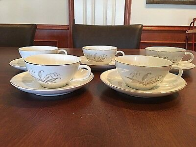 "Five (5) Kaysons International 'Golden Rhapsody' China 5 3/4"" Saucer & Flat Cup"
