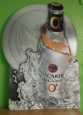 "2003 Bacardi Silver O3 Metal Tin Advertising Bar Tavern Man Cave Sign 35.5""X25.5"