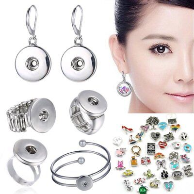 Hot Snap-it Chunk Floating Charms Button Locket Earrings Ring Bracelet Jewelry
