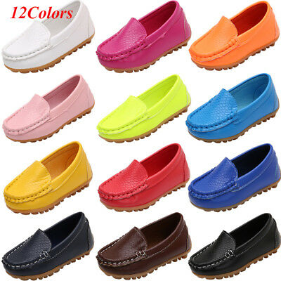 Kid's Soft Loafers Boy Girls Oxford Flats Casual PU Boat Shoes Toddler Slip On