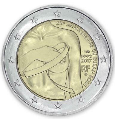 """France 2 euro coin 2017 """"25 years of Breast cancer awareness"""" UNC"""