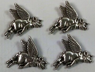 Four Flying Pig Screw Back Conchos Sterling Silver Plated
