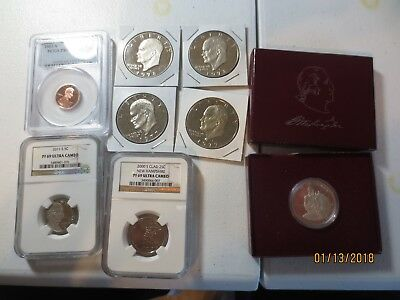 8 Coin lot U.S. proof coins silver & clad low price