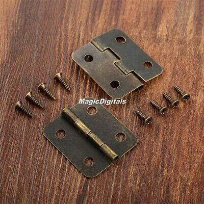 10x Small Vintage Metal Hinges Jewelry Box Dollhouse Cabinet Door Hinges 30*25mm