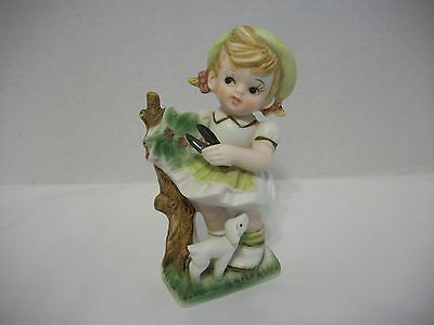 Vintage Porcelain/bisque Girl With Pruning Shears Figurine, Ardco Japan