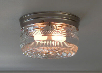 Flush Mount Utility Ceiling light. Vintage Clear Glass Shade New Fixture Base