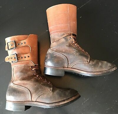 RARE Vintage US Army WWII DOUBLE BUCKLE LEATHER COMBAT BOOTS circa 1944