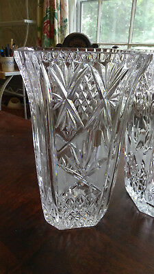 Pair Of Gorgeous Vintage Matching Antique Crystal Hurricane Lamps/vases ~ 10""