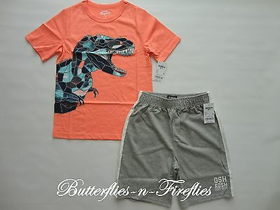 NWT OshKosh B'gosh 2pc Outfit Set Neon DINOSAUR Tee Shirt Knit Shorts Boys 8