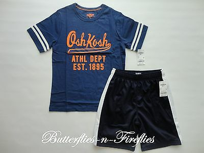 NWT OshKosh B'gosh 2pc Outfit Set OSHKOSH Graphic Tee Shirt Shorts Blue Boys 8