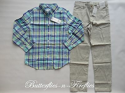 NWT Gymboree FAMILY BRUNCH 2pc Outfit Set Plaid Dress Shirt Linen Pants Boys 8