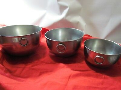 Vintage Revere Ware Stainless Nesting Style Mixing Bowls with Rings Lot of 3