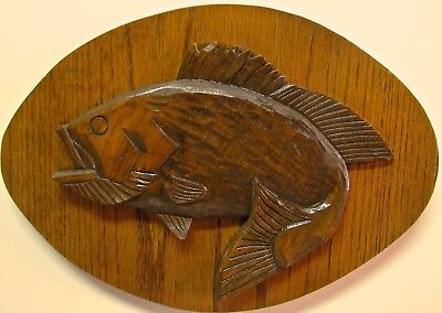 Vintage Hand Carved Bass Plaque  - by Russell Beckwith