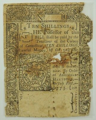 1775 Ten Shillings Connecticut Colonial Currency   (Backed with Archival Tape)