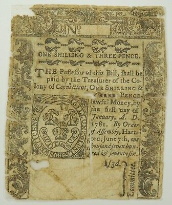 1776 One Shilling & Three Pence Connecticut Colonial Currency   (Archival Tape)
