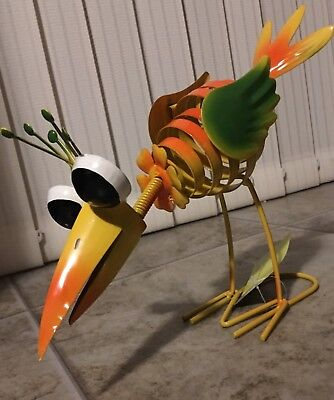 Yard Art Metal Sculpture BIRD WHIMSICAL Garden Statue Decor Home Outdoor Indoor