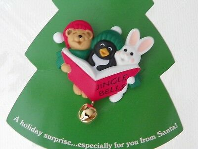 Hallmark Holiday Pin new vintage rabbit penguin bear and bell unused