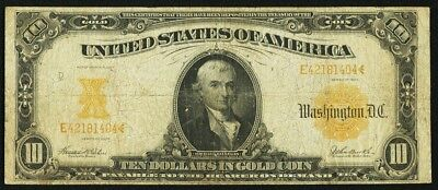 1907 $10 Gold Certificate FR. 1172 Bank Note / Currency (Ten Dollars Gold Coin)