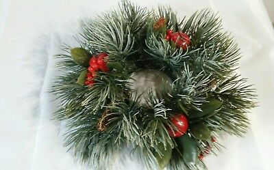 """Vintage Plastic Christmas candle ring wreath 3"""" opening Pine Cones Apple Berries"""