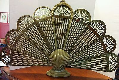 Vintage BRASS Fireplace Screen Peacock Folding Victorian clam shell  Art Deco