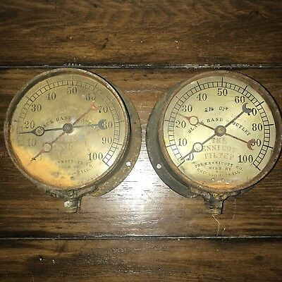 @PAIR@ of RARE Kennicott Duplex Antique Gauges Industrial Decor Rustic Steampunk