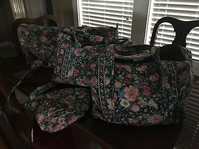 Vera Bradley Duffle Travel Set 3 Duffels and Cosmetic Bag