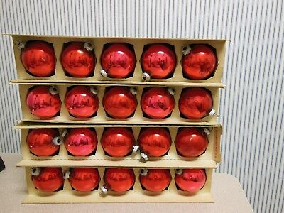 Lot Of 20 Vintage Shiny Brite Red/pink Glass Christmas Ornaments Original Boxes