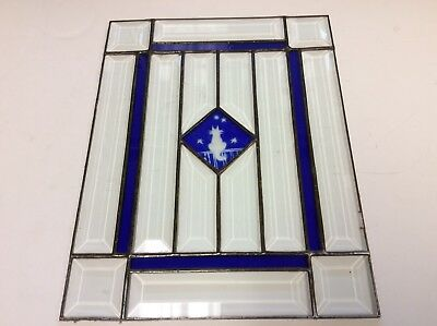 Vintage Stained Glass Beveled Clear Glass Cat Picture Window Panel Sun Catcher