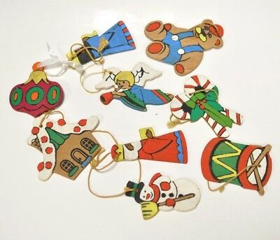 vintage wooden hand painted Christmas ornament lot