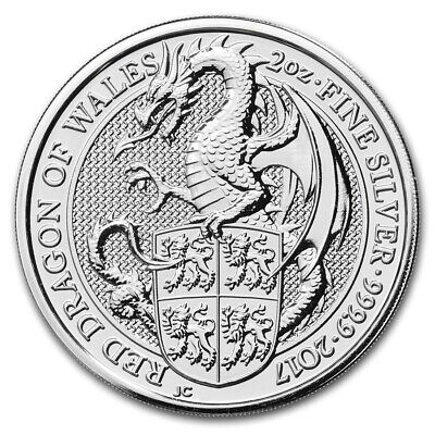 Silver Coin UK - Queens Beasts Red Dragon 2017 - 2 oz 99.99 % pure silver