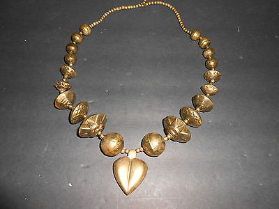 "Unique Vintage Art Deco Chunky Brass Necklace 29"" Long  FREE SHIPPING"