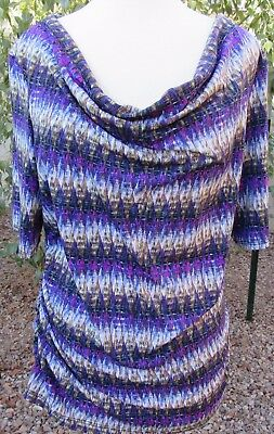 AGB Size XL Purple Striped Short Sleeve Pullover Waterfall Neck Blouse Top Shirt