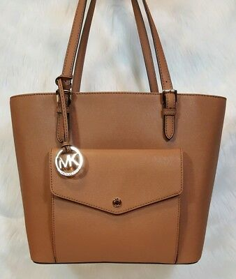 a6adac5d940c **NWT** MICHAEL KORS Large Jet Set Snap Pocket Saffiano Leather Tote -
