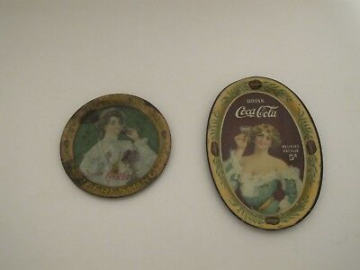 Lot of 2 1907 1905 COCA-COLA TIN LITHOGRAPH ADVERTISING TIP ROUND COKE TRAY VTG