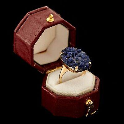 Antique Vintage Art Deco 10k Yellow Gold Chinese Carved Lapis Lazuli Ring Sz 5.5