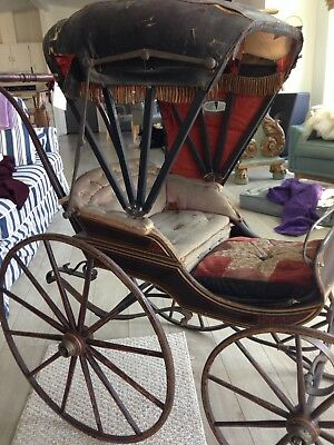 UNIQUE Antique 1840'Doll Carriage*BEAUTIFUL*OilCloth*Hand forged*Bentwood*RARE