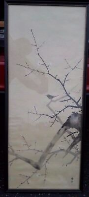 CHINESE PAINTING ON SILK ~LARGE old painting Bird And Cherry Blossom Tree~Signed