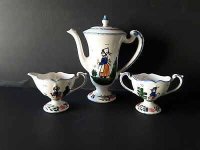 BLUE RIDGE SOUTHERN ~Quimper Style 4-PC TEAPOT  CREAMER SUGAR SET~French Peasant