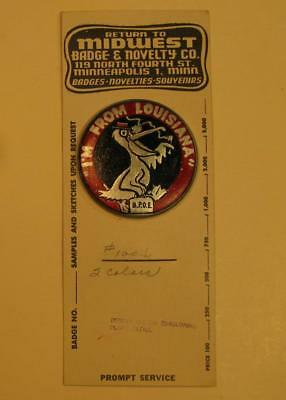 1950's BPOE Elks of Louisiana Button - Unique Designer Proof Sheet