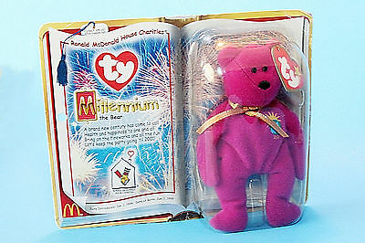 Beanie Baby Bear, Ty, Millennium Bear NEW in Sealed Package, 2000, Pink