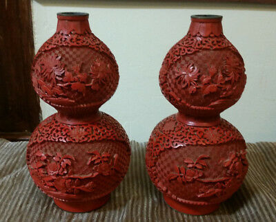 """Pair of 10"""" Vintage Chinese """"Double Gourd"""" Carved Cinnabar Red Lacquerware Vases"""