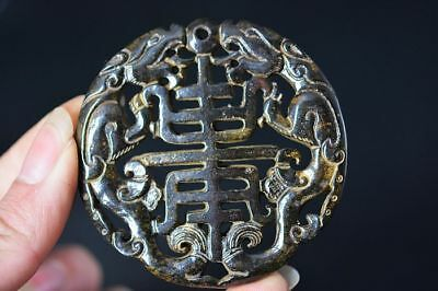 Excellent Chinese old jade Hand carved dragon Amulet Pendant  D19